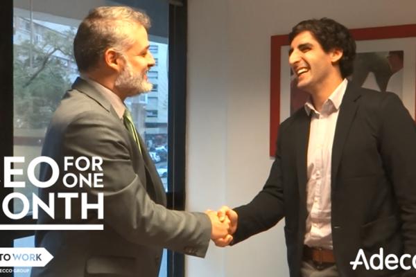 """Un joven estudiante fue seleccionado para ser """"CEO por un mes"""" de Adecco Uruguay"""